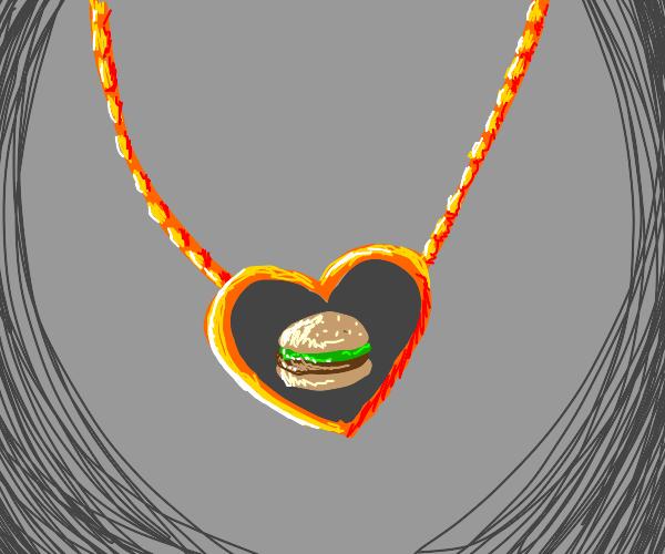 Hamburger heart locket