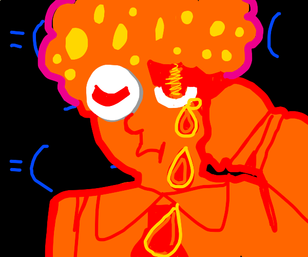 Orange man with fluffy hair sobs