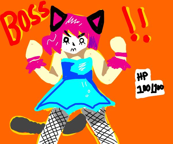 bossfight with catgirl wearing fishnet stocki