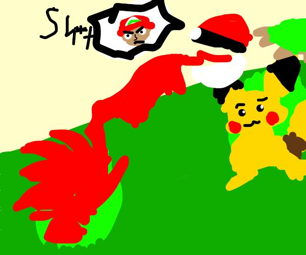 Ash Ketchum caught his opponent's pokemon!