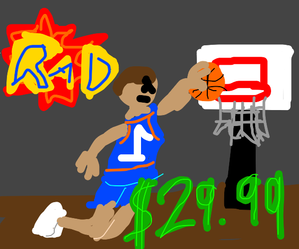 ad for basketball where a man is dunking