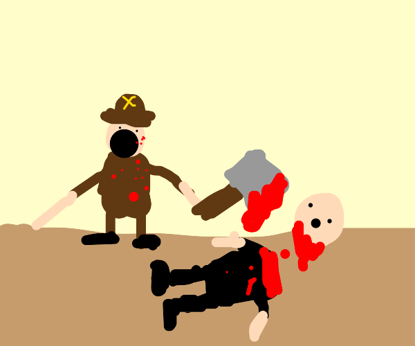 Pirate beheading man with axe