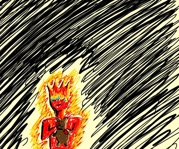 fire boy holding teddy bear