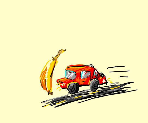 Banana gets hit by car