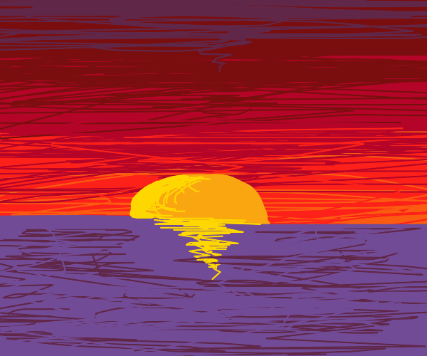 Sunset by the water