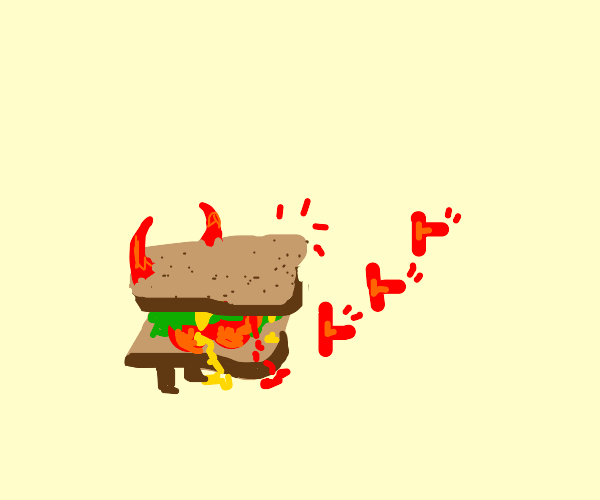 devil sandwich with olive