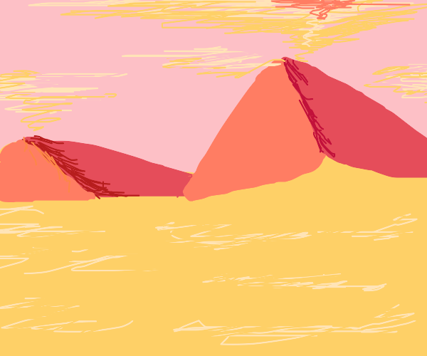 A desert with red hills