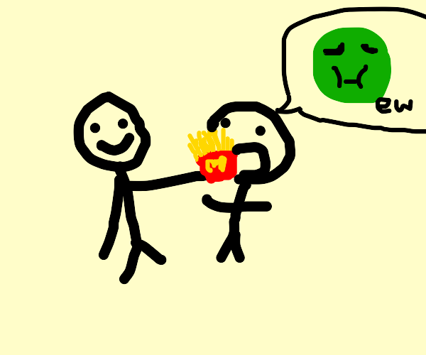 Man forces a guy to eat fries he doesnt like