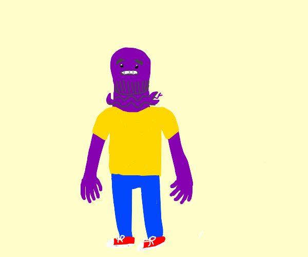 young purple guy with snake in his neck