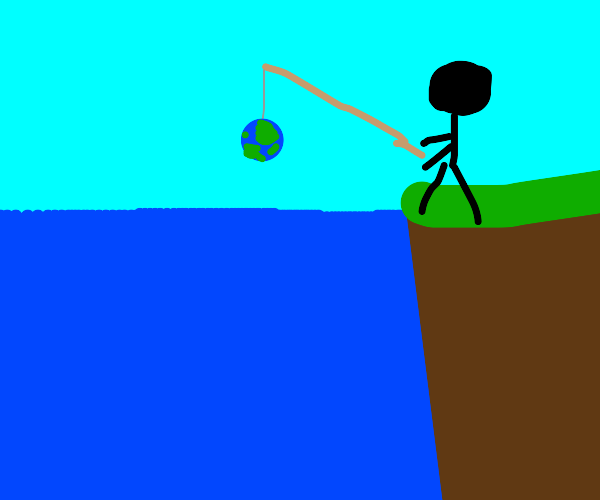 guy fishes up a globe