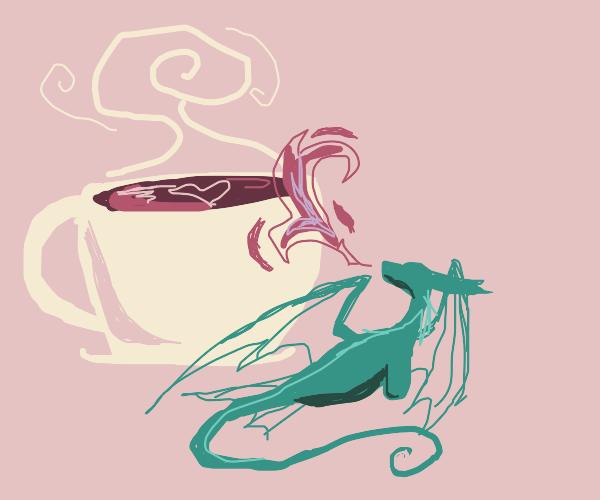 Tiny dragon heating your tea