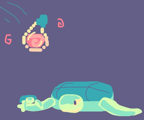 Throwing potion on turtles