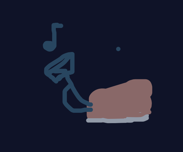 Shoe playing a trumpet