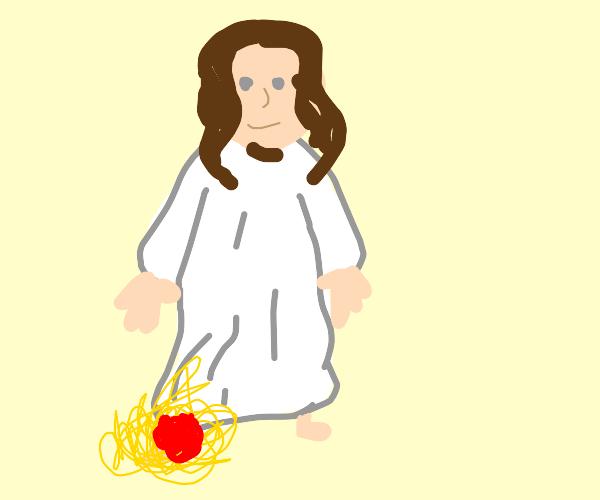 Jesus put his right leg in pasta