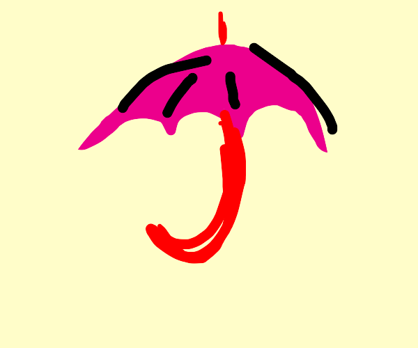 Pink umbrella with a red handle