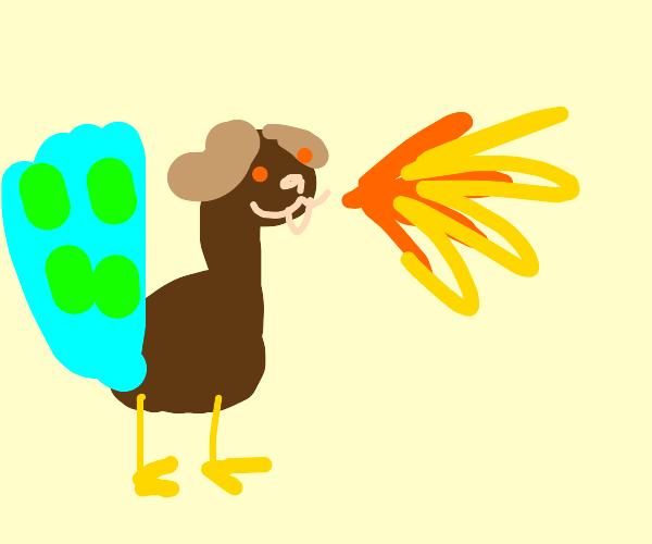 a dog-peacock hybrid spitting fire
