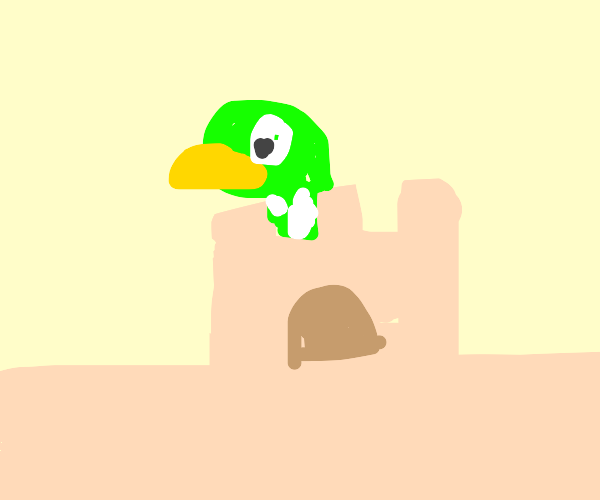 duck in a sandcastle