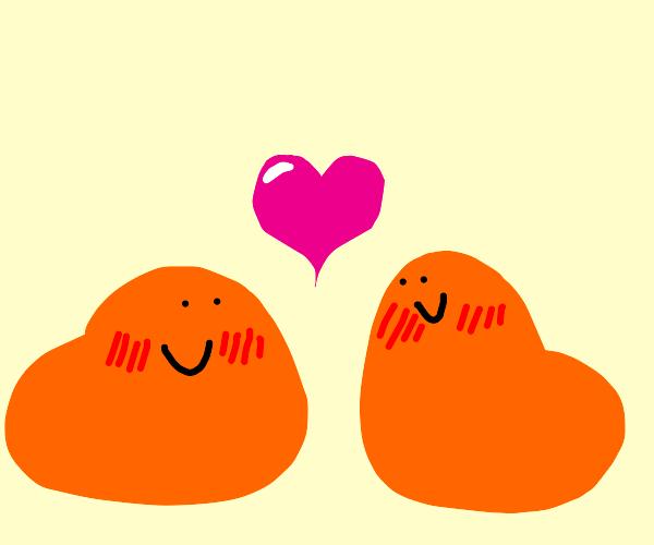 Two Orange Blobs in Love