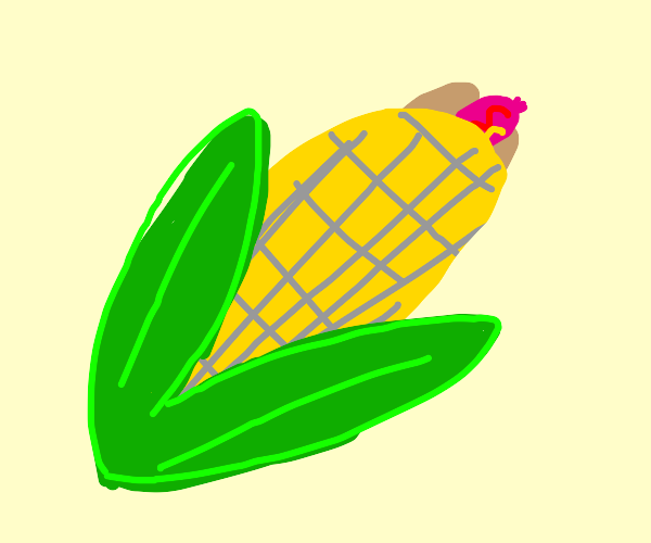 corn on a cob, but the corn bone is a hot dog