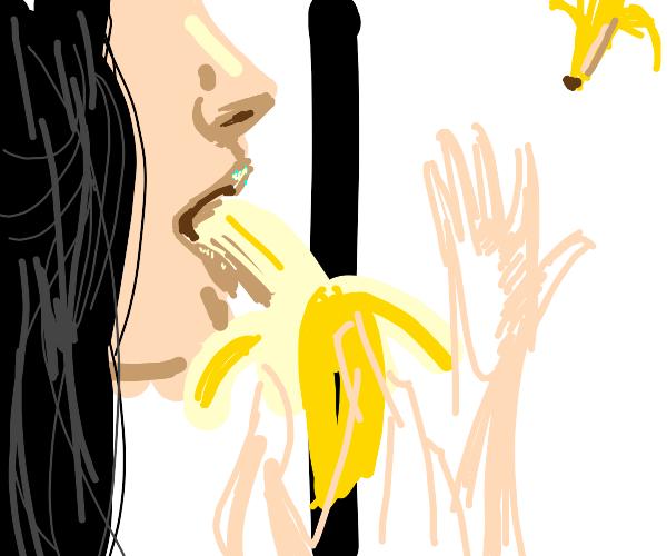 Eat banana in the store. Throw it on floor.
