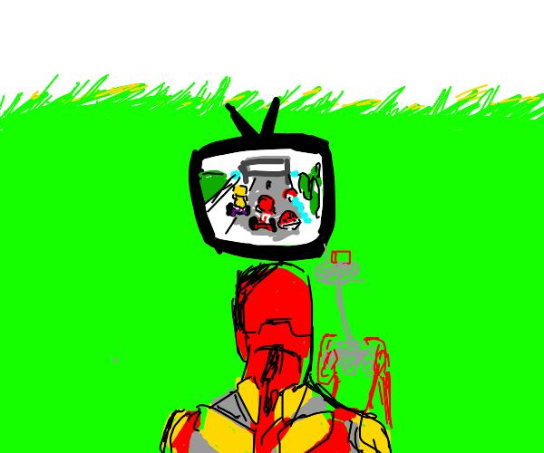 Iron man plays nintendo in a field