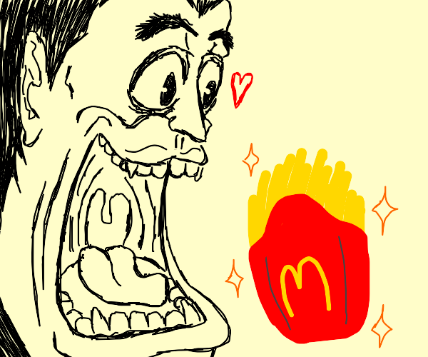 man is excited about fries