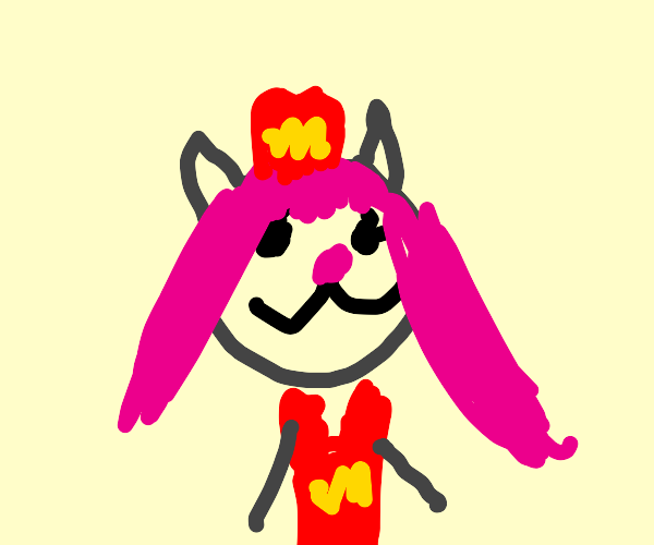 pink haired cat girl working at mcdonalds