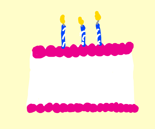 Happy birthday cake with three candles