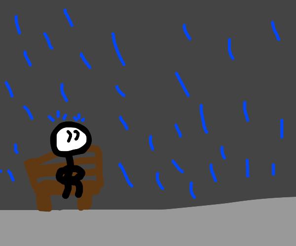 Stick man watching blue blobs raining down