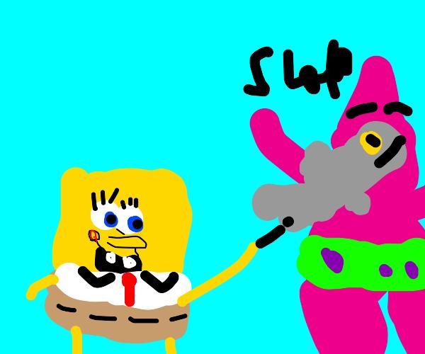 SpongeBob throws a fish at Patrick