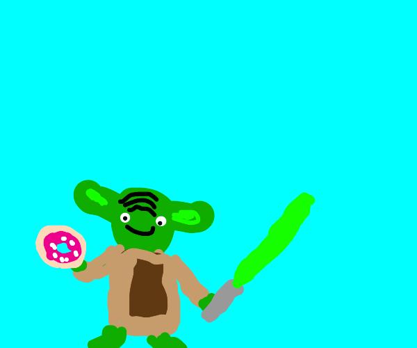 Yoda holding a donut.