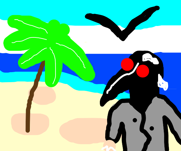 plague doctor pooped on by birds at beach