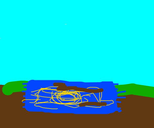 blue rug on muddy field