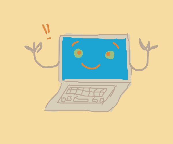 Sentient Laptop with arms is happy