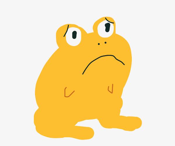 sad yellow frog blob