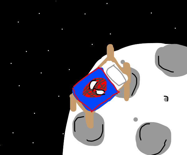 Bed with Spiderman blanket on the moon