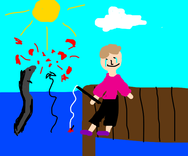 Fisherman smilecries electric eel pops baloon