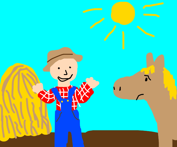 Excited farmer, disappointed horse