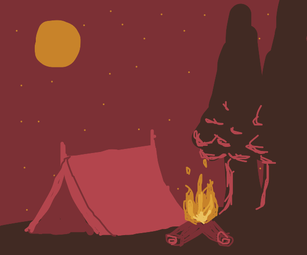 Campfire next to a tent at night