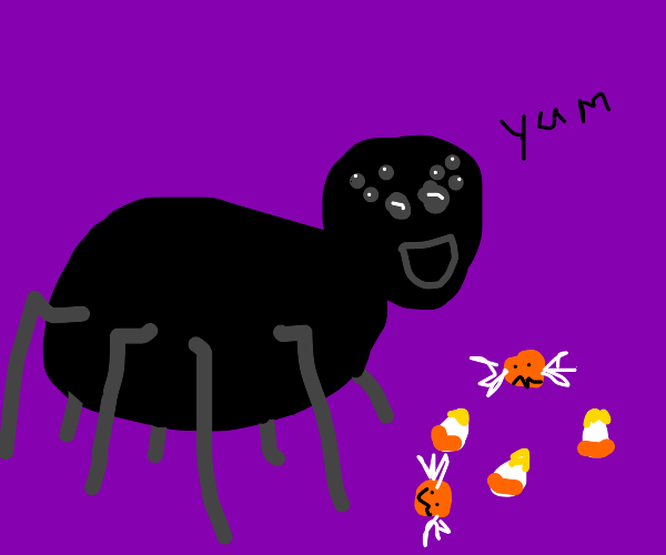 A spider eating Halloween candy
