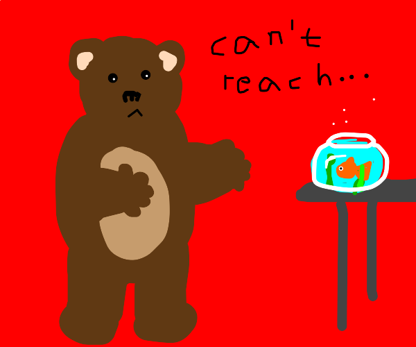 bear with short arms can't reach the fish