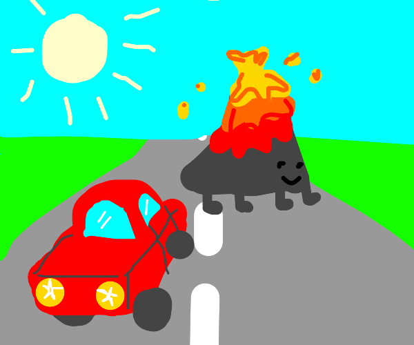 A Volcano crossing the Highway