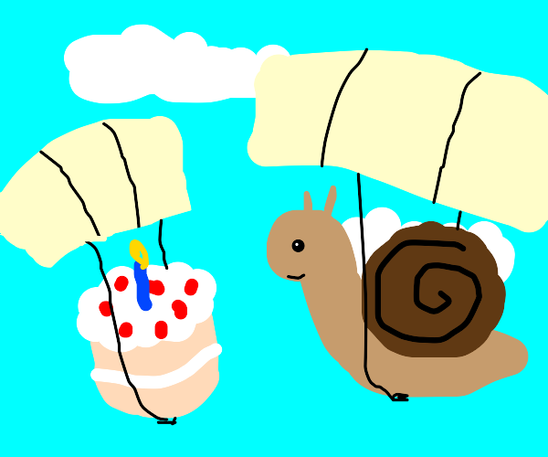 2 parachutes 1 with snail other wit bday cake