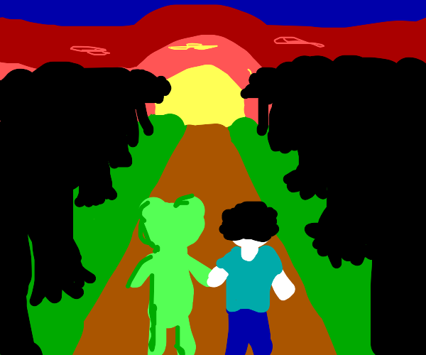 green bear holds man's arm