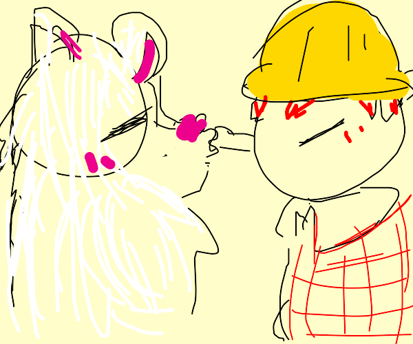 Polar Bear kissing Construction Worker