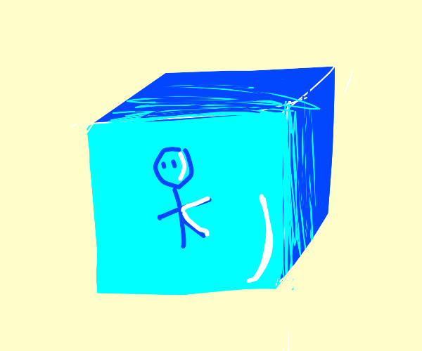 Stick figure is stuck in an ice cube