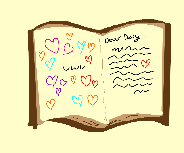journal with doodle hearts :3