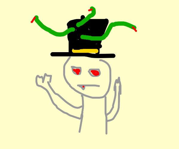Medusa's hat doesn't hide the snakes.