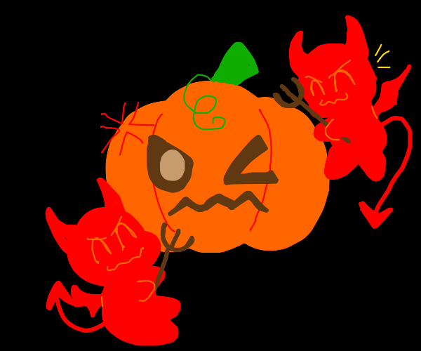 Small demons bullying an alive Jack-O-Lantern