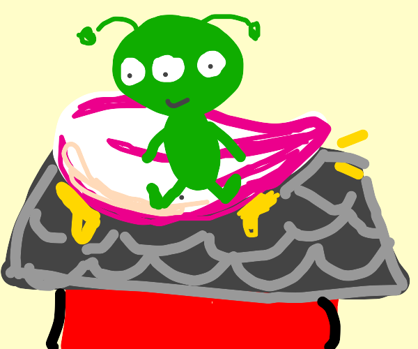 Small alien on flower board glued to a house